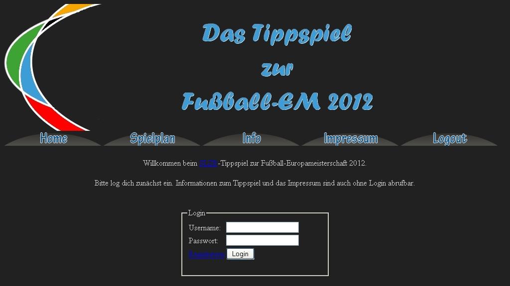 Screenshot Tippspiel-Webseite